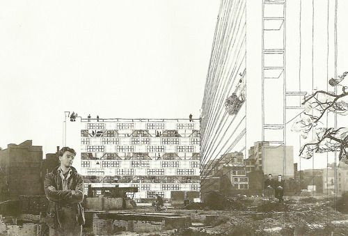 Drawings for Golden Lane Housing Project Competition By Peter and Alison Smithson.