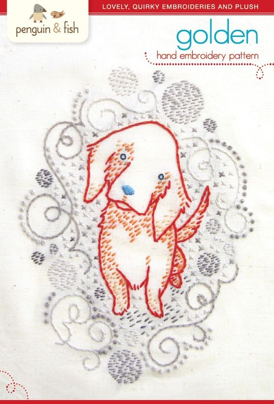Golden puppy hand embroidery pattern  PDF by penguinandfish, $6.00