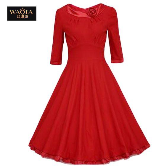 Hot Sale Autumn Dress 2015 Fashion Vestido Femininos Casual Three Quarter Sleeve O-neck Waisted Ruffle Dress Women Maxi Dress