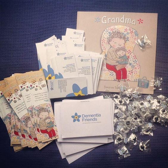 Received my first package of badges in time for #WorldAlzheimersDay today!! #GrandmaBook and #DementiaFriends unite!!