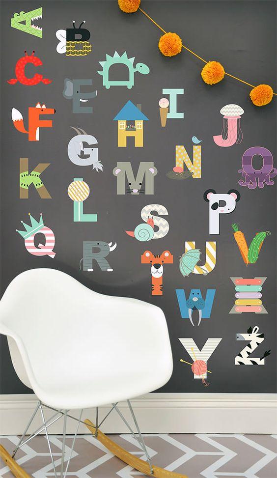 6 playful art walls for kids 39 rooms art walls for kids for Letters for kids rooms