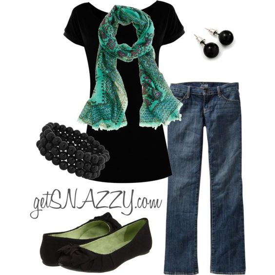 Green Scarf to dress up jeans :)