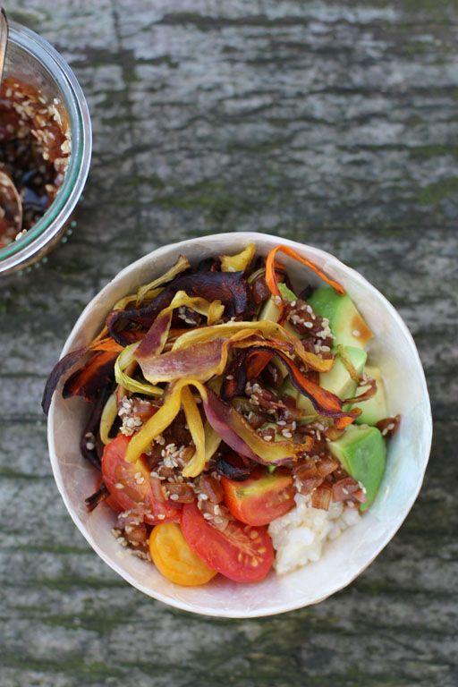 Quinoa mit Avocadoöl gebackene Möhren
