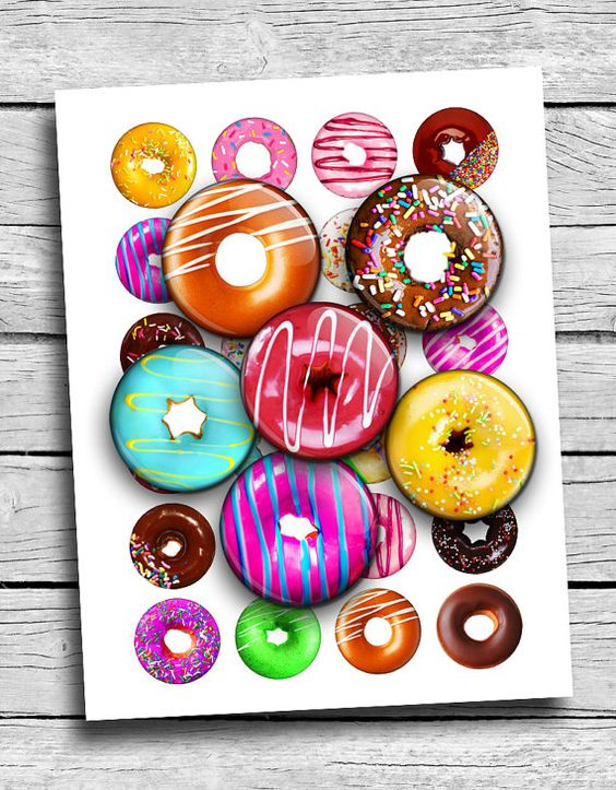 Doughnuts Printable Round images 25mm 1.5 1 by MobyCatGraphics