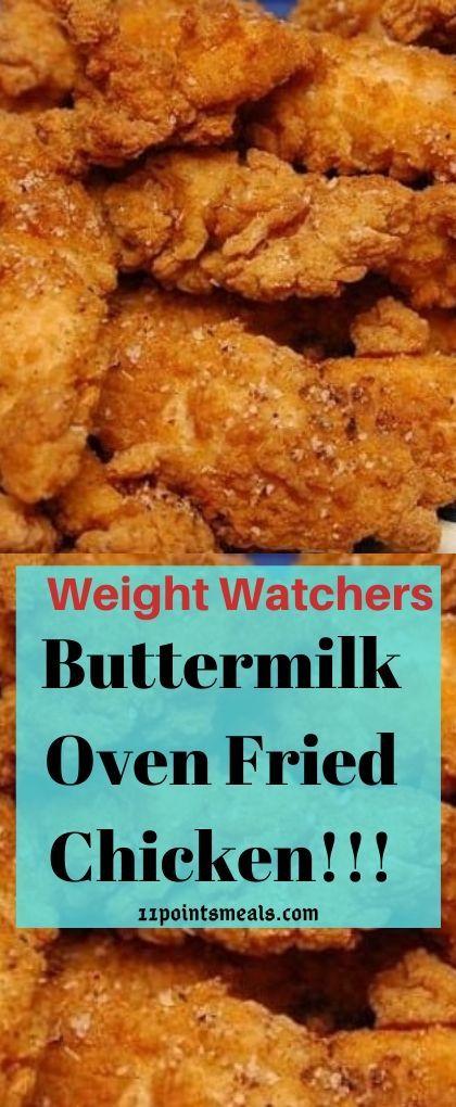 Buttermilk Oven Fried Chicken 11 Points Meals In 2020 Fries In The Oven Buttermilk Oven Fried Chicken Oven Fried Chicken