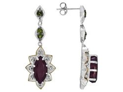Mahaleo Ruby,Chrome Diopside And White Topaz 5.49ctw S/S And 18k Yg Over S/S Earrings