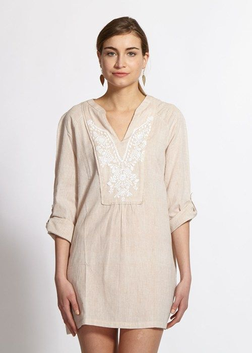 People Tree | Susanna Embroidered Tunic in Beige