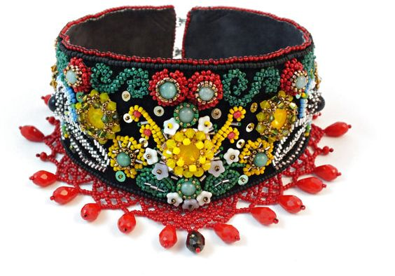"Statement Choker with Traditional Romanian Bead Embroidery Enter ""Pinterest"" coupon at checkout and get 10% O"