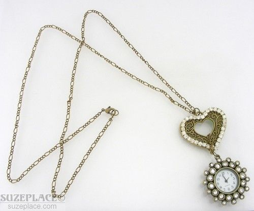 Watch Pendant Necklace Flower Heart with Rhinestones 32 Brass Tone Chain SuzePlace.com