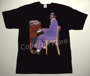 RAY CHARLES drawing 2 CUSTOM ART UNIQUE T-SHIRT   Each T-shirt is individually hand-painted, a true and unique work of art indeed!  To order this, or design your own custom T-shirt, please contact us at info@collectorware.com, or visit http://www.collectorware.com/tees-ray_charles.htm