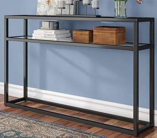 New Narrow Console Table Entry Tables Hallways Black Metal Frame Tempered Glass Top Shelf Designed Your Small Living Space Online In 2020 Narrow Console Table Wood Console Table Metal Console Table
