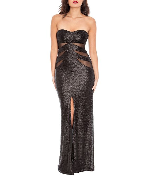 Black sequin maxi dress - Goddiva