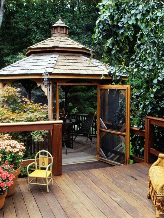 Gazebo decks and outdoor rooms on pinterest for Garden decking with gazebo
