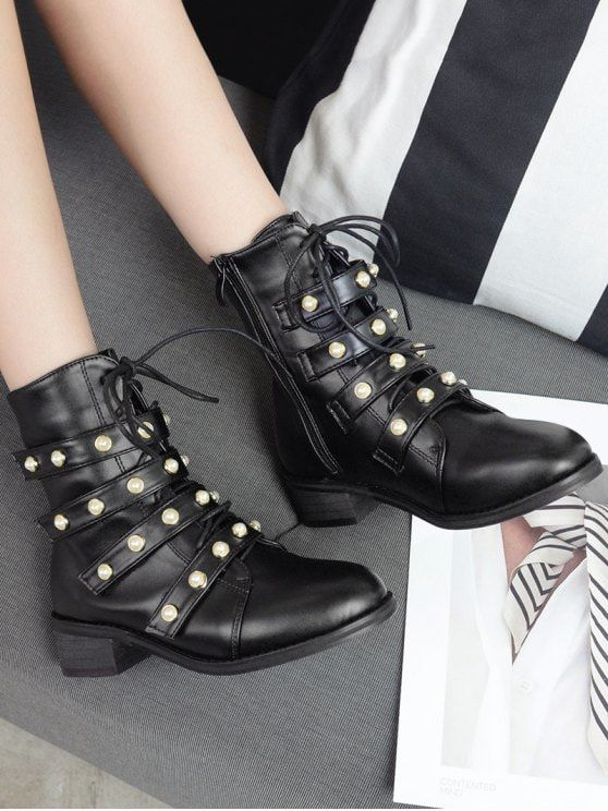 Front Tie Faux Pearl Accent Ankle Boots - BLACK 38