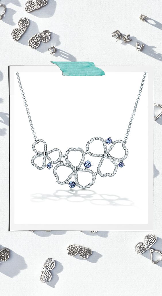 Tiffany Paper Flowers Diamond And Tanzanite Open Cluster Necklace