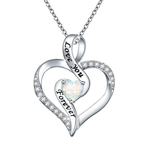 For Ever Love Heart Sterling Silver Infinity Necklace CZ Rhodium Finish