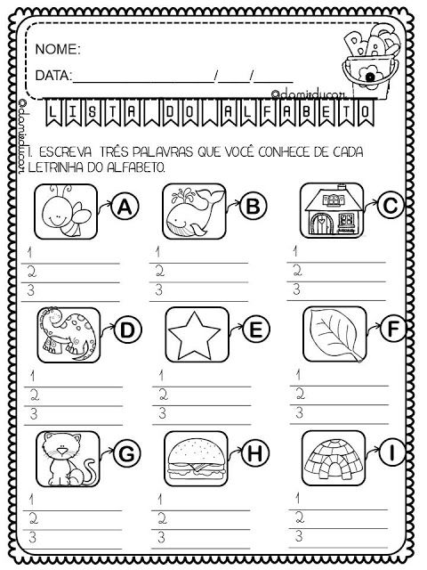 Atividades Com Lista De Palavras Do Alfabeto Atividades Com O