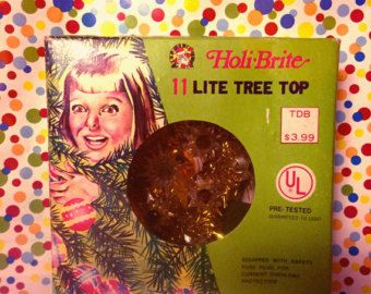 Vintage 1966 Holi-Brite Christmas Tree Topper 11 Lights Gold TInsel Star With Original Box - Edit Listing - Etsy