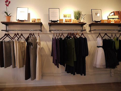 Shopping Seattle: SPUN Sustainable Collective shop. I like how the clothes racks…