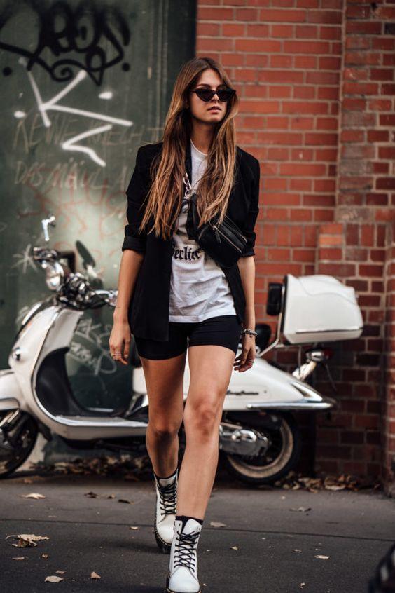 radlerhose-schwarz-kurz-damen-outfit-blazer