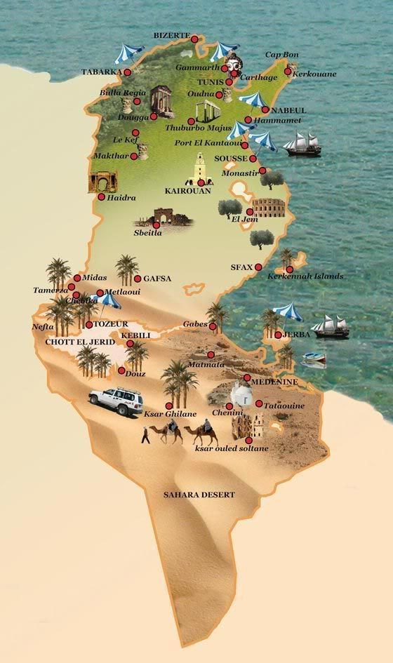 Carte De La Tunisie Tunisie Paysage Tunisie Tourisme Tunisie