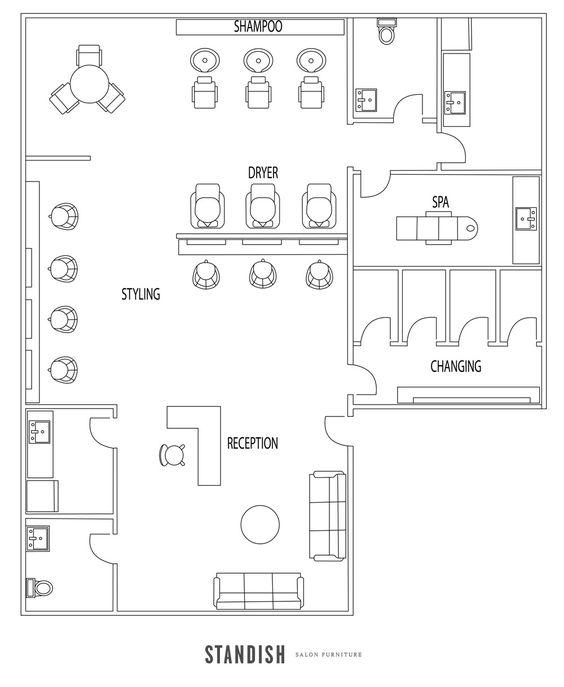 Spa salon floor plan beauty salon ideas pinterest for Planos de salones