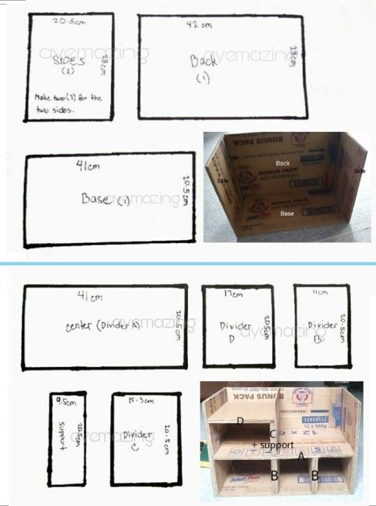 Cardboard Organizer Measurements Cardboard Organizer Cardboard Crafts Diy Cardboard Crafts