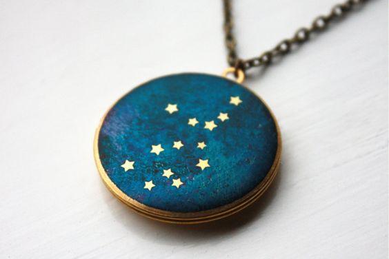 Virgo Constellation illustrated brass locket by HiddenTales