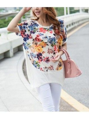 High Low Floral T Shirt