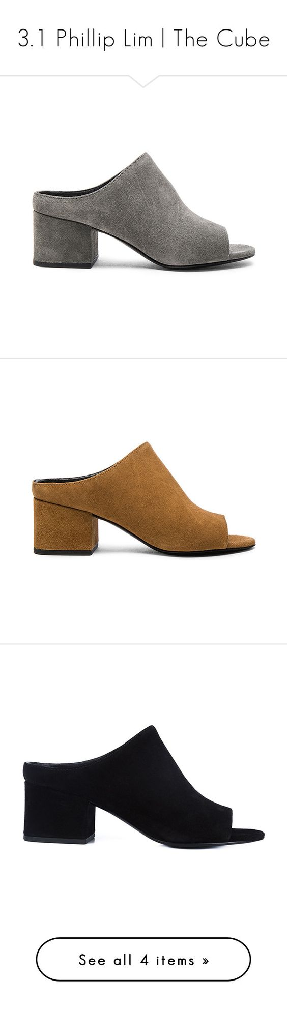 3.1 Phillip Lim | The Cube by blueandcream on Polyvore featuring women's fashion, shoes, accessories, women, brown slip on shoes, 3.1 phillip lim shoes, slip-on shoes, mid-heel shoes, brown mules and open-toe mules