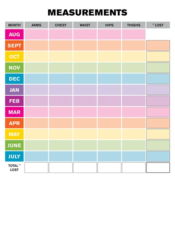 Weight Loss Monthly Measurement Chart | Printables ...