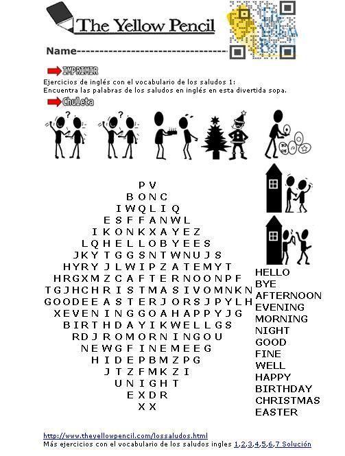 Sopa De Letras Con Los Saludos En Ingles Para Imprimir Buscar Con Google Ejercicios De Ingles Ingles Para Principiantes Actividades De Ingles