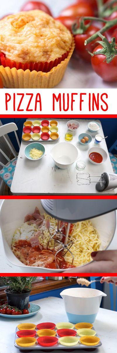 Genial & lecker! Pizza Muffins mit Käse, Tomaten und Schinken ganz leicht selbst machen. Zum Rezept auf www.gofeminin.de/living-video/pizzamuffins-n250961.html