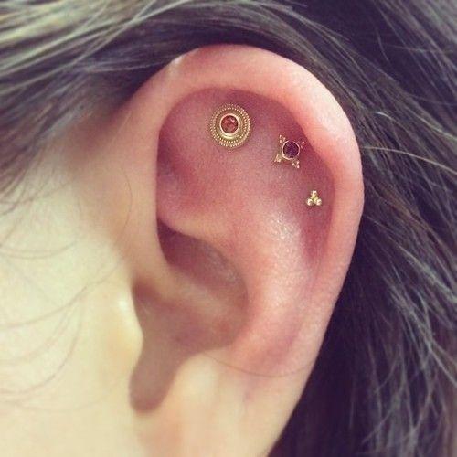Gallery For > Triple Flat Ear Piercing Ear Piercings Cartilage
