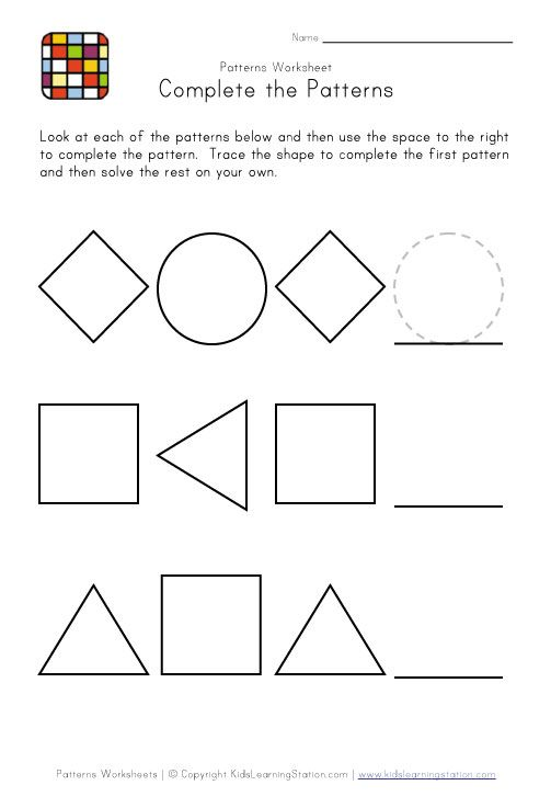 kindergarten pattern worksheets | Easy Preschool Patterns ...