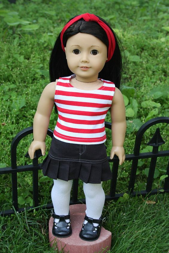American Girl Doll Clothes Grey Sweater Red by sewurbandesigns