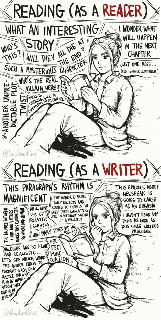 The top is like a example of what reading is like before you become an writer!