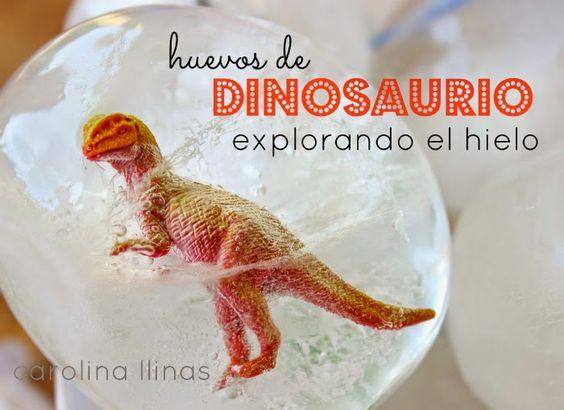 Huevos de dinosaurio congelados, una maravillosa forma de experimentar con el hielo.