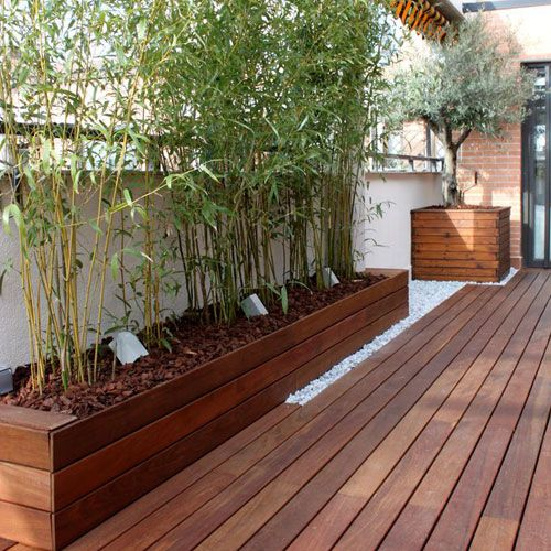 Jardineras de madera ideales para su terraza decoracion for Decoracion patios exteriores