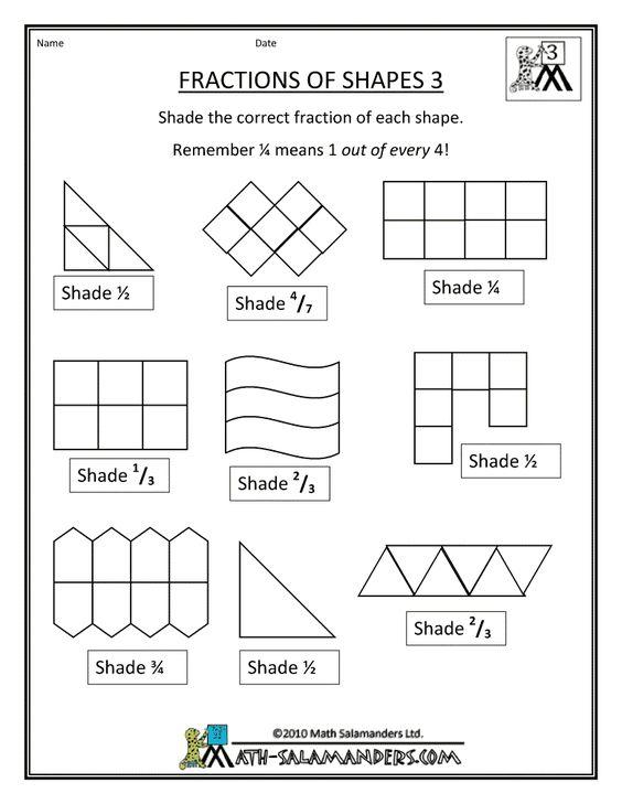 Printable fractions worksheets ks1