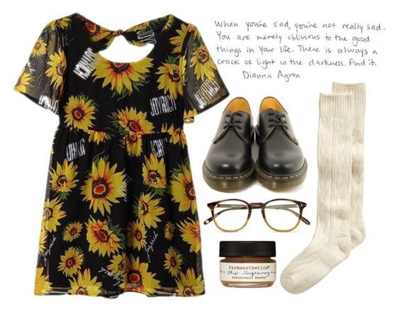 Sunflower by child-of-the-tropics on Polyvore featuring polyvore, fashion, style, Gap, Dr. Martens, Garrett Leight and Farmaesthetics