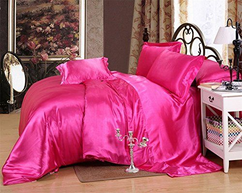 Forever Bedding Ultra Soft Silky Satin 4 Piece Bed Fitted With