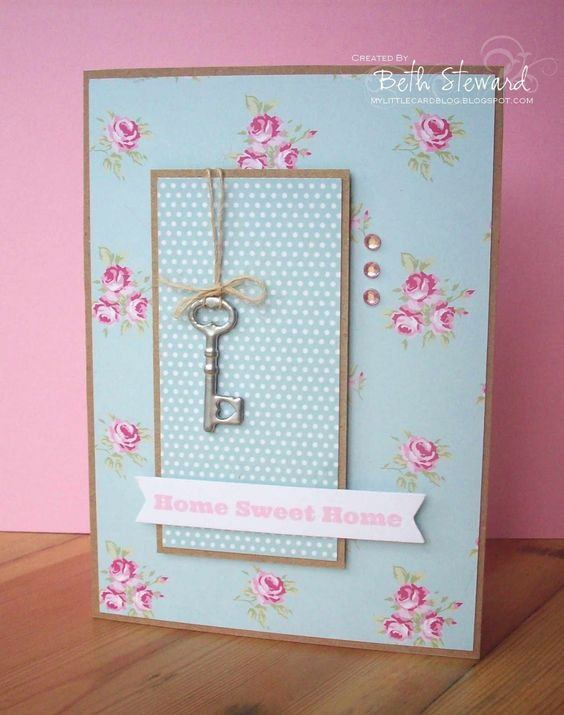 Home sweet home; new home; welcome home inspiration. I love the mini key design on this handmade card.