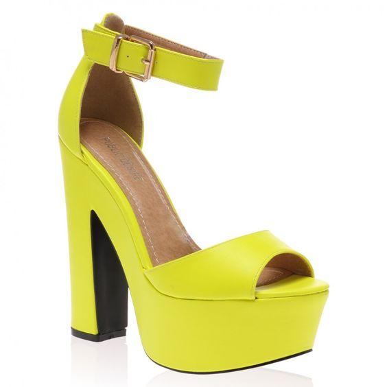 Brandi Neon Yellow Platform High Heel Sandals | clothes