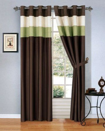 Curtains Ideas beige and brown curtains : MODERN SAGE GREEN / BROWN /BEIGE Faux Silk Taffeta Grommet Window ...