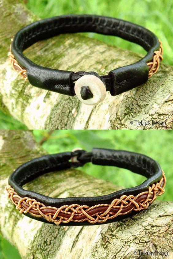 HUGIN-Kupfer Viking-Sami-Armband in schwarz und von TjekijasDesign