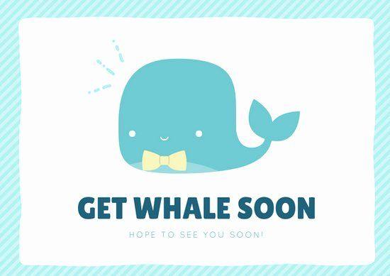 Get Well Card Template Elegant Light Teal Get Whale Soon Get Well Soon Card Templates In 2020 Card Template Get Well Cards Card Templates