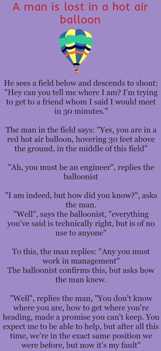 A Man Is Lost In A Hot Air Balloon Brilliant Tricks Jokes Hot Air Husband Humor