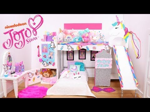 Doll Bunk Bed Slide And Its Jojo Siwa New Bedroom Epic Room Tour With Unicorns Rainbows Furniture You Doll Bunk Beds Bed With Slide Princess Bedroom Decor