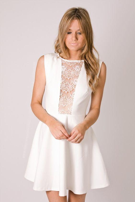 nelly white cocktail- bodice lace mesh detail